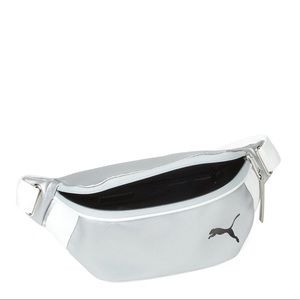 Puma Leather Silver-Tone Fanny Pack